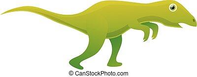 Green dinosaur icon, cartoon style