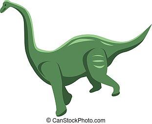 Green dinosaur icon, isometric style