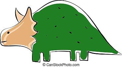 Green dinosaur, illustration, vector on white background.