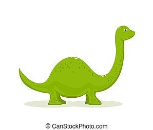 Green Dinosaur on White Background