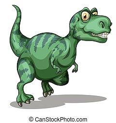 Green dinosaur standing alone on white