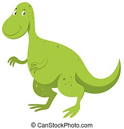 Green dinosaur with happy face