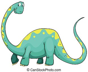 Green dinosaur with long neck illustration