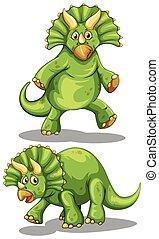 Green dinosaur with sharp horns