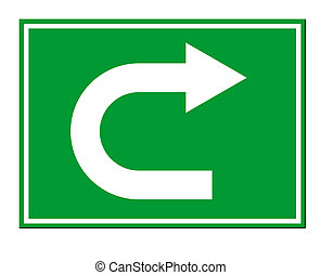 Green directional arrow U turn sign isolated on white background.