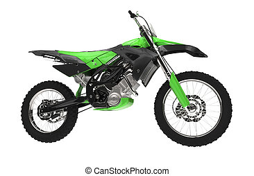 Green Dirt Bike Side View
