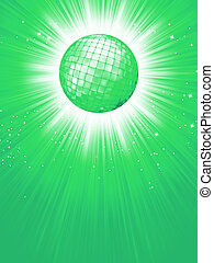 Green disco rays with stars. EPS 8
