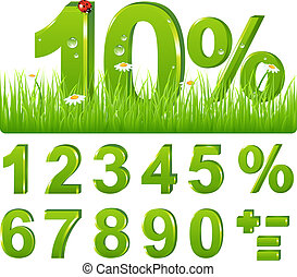Green Discount  In Grass And Set Of Figures and Signs