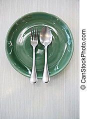 Green Dish and spoon.
