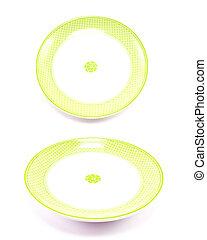 green dish ceramic on whit background