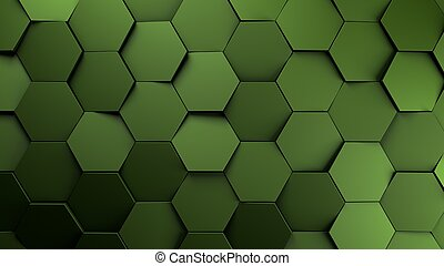 green displaces hexagons background.3d illustration render.