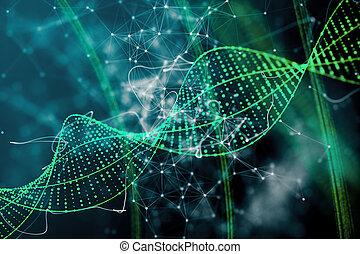 Green DNA background - Digital green DNA background....