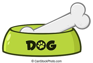 Green Dog Bowl With Animal Food And Bone Drawing Simple Design