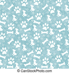 Green Doggy Tile Pattern Repeat Background - Green Dog Paw ...