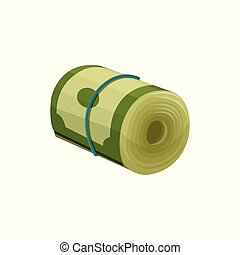 Green dollar banknotes rolled up and tied with blue rubber band. American currency. Paper money. Finance or economy concept. Flat vector icon