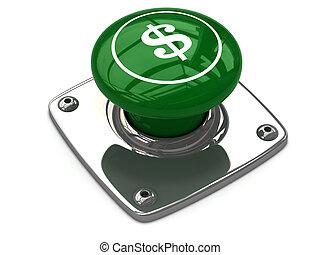 Green dollar button concept