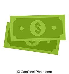Green dollar icon, flat style