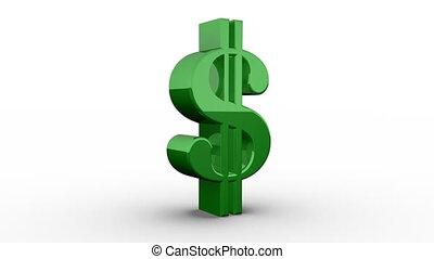 Green Dollar Sign Spinning