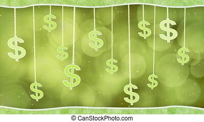 green dollar signs dangling loop
