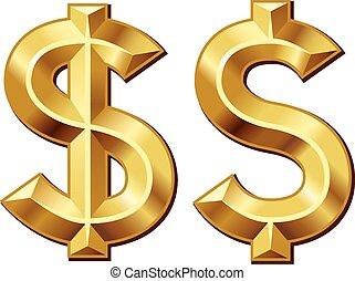 Green dollar - Two gold dollar signs. Eps8. CMYK. Organized...