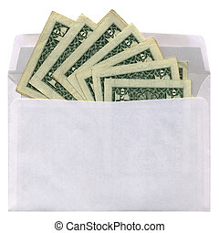 green dollars in envelope isolated