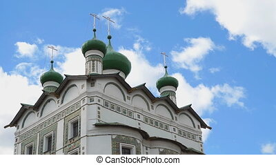 Green domes with crosses of an Orthodox monastery