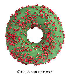 Green donut with sprinkles isolated on white background