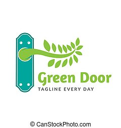 Green door logo design template