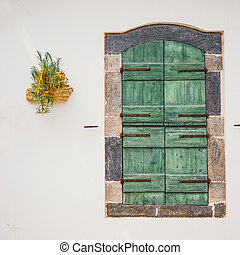 green doors with flowers in the pot on a white wall, close up