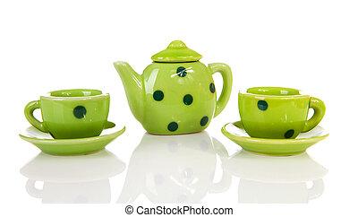Green dotted tablewear - green dotted tablewear over white...