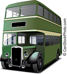 green double decker bus - English double decker bus isolated...