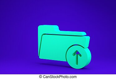 Green Download arrow with folder icon isolated on blue background. Minimalism concept. 3d illustration 3D render