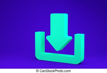 Green Download icon isolated on blue background. Upload button. Load symbol. Arrow point to down. Minimalism concept. 3d illustration 3D render