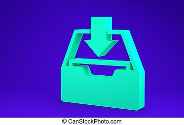 Green Download inbox icon isolated on blue background. Add to archive. Minimalism concept. 3d illustration 3D render