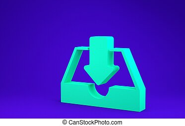Green Download inbox icon isolated on blue background. Minimalism concept. 3d illustration 3D render