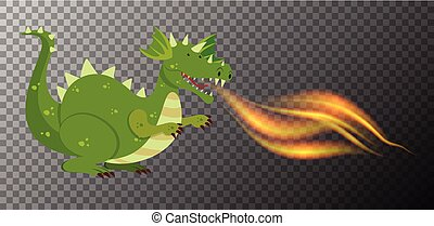 Green dragon fire on transparent background