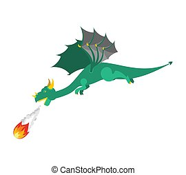 Green Dragon flies And shoots fire. Mythical Monster with wings. Terrible huge beast. Vector illustration