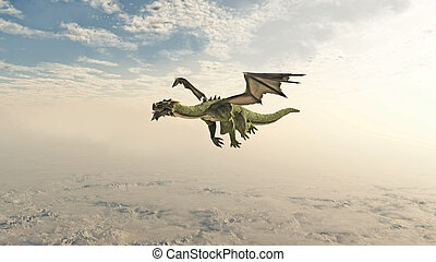 Green Dragon Flying through the Clo