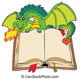 Green dragon holding old book - vector illustration.
