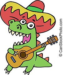 Green dragon in Mexican hat and with guitar on white background
