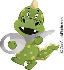 Green dragon is holding a key, illustration, vector on white background.