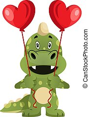 Green dragon is holding heart balloons, illustration, vector on white background.