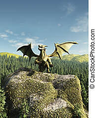 Green Dragon Perched on a Rock