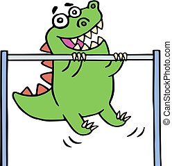 green dragon stretches on the horizontal bar