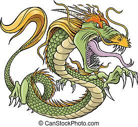 Green Dragon Vector Illustration
