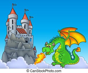 Green dragon with castle on hill - color illustration.