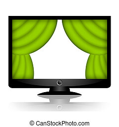 Green drape curtains on the screen