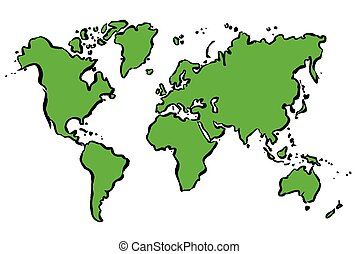 Green drawing map of The World. - Vector Illustration.