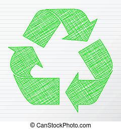 Green drawing recycling symbol