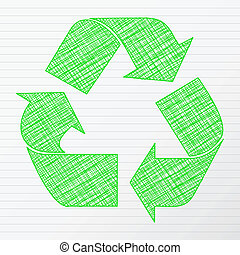Green drawing recycling symbol